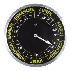 horloge 7 jours noir et jaune