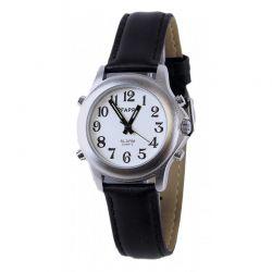 Montre parlante date et heure bracelet cuir